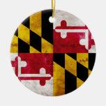 Weathered Maryland Flag Christmas Ornament