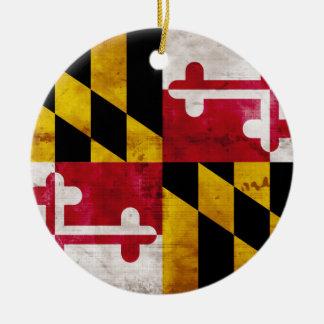Weathered Maryland Flag Double-Sided Ceramic Round Christmas Ornament