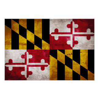 Weathered Maryland Flag Poster
