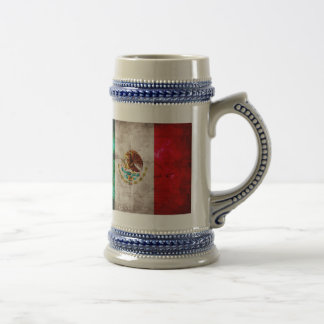 Weathered Mexican Flag 18 Oz Beer Stein