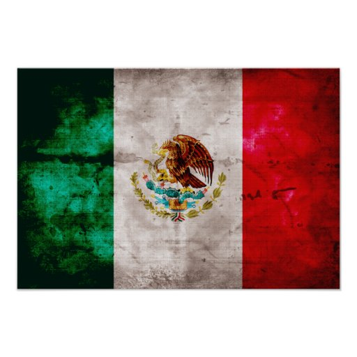 Weathered Mexican Flag Print