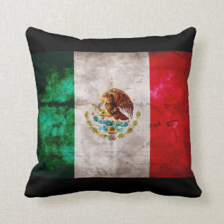 Weathered Mexican Flag Throw Pillow
