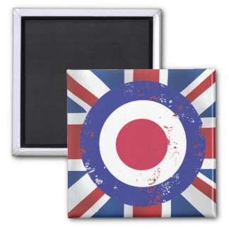 Weathered Mod Target on silk effect Union Jack 2 Inch Square Magnet