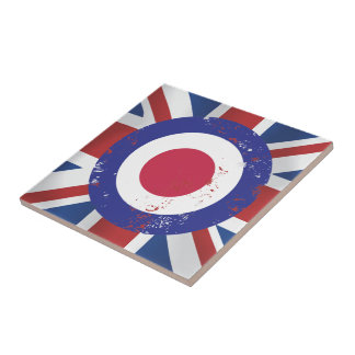 Weathered Mod Target on silk effect Union Jack Small Square Tile