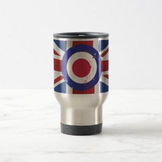 Weathered Mod Target on silk effect Union Jack Travel Mug