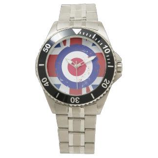 Weathered Mod Target on silk effect Union Jack Wrist Watch