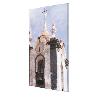 Weathered, old-fashioned clock tower, Portugal Canvas Print