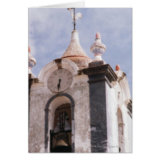 Weathered old-fashioned clock tower Portugal Greeting Card