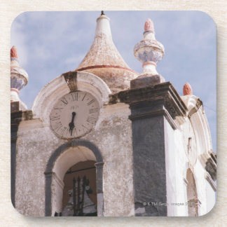 Weathered old-fashioned clock tower Portugal Beverage Coasters
