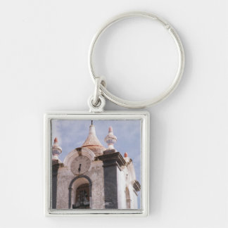 Weathered, old-fashioned clock tower, Portugal Keychain