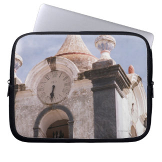 Weathered old-fashioned clock tower Portugal Laptop Computer Sleeves