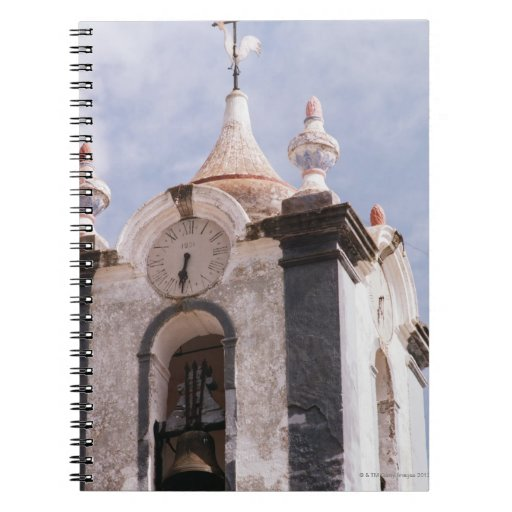 Weathered, old-fashioned clock tower, Portugal Notebook