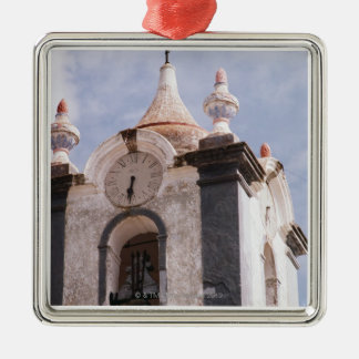 Weathered old-fashioned clock tower Portugal Christmas Tree Ornament