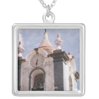 Weathered, old-fashioned clock tower, Portugal Silver Plated Necklace