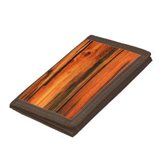 weathered pine board tri-fold wallet