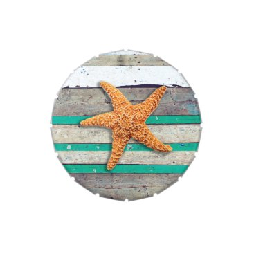 Beach Themed Weathered Plank Beach Board Rustic Candy Tins