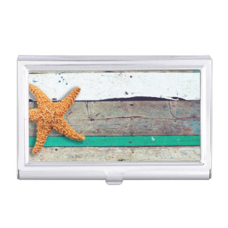 Weathered plank beach rustic seashore business card case