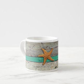 Weathered plank beach rustic seashore espresso cup