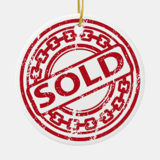 Weathered Red Sold Chain Stamp Effect Ceramic Ornament