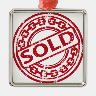 Weathered Red Sold Chain Stamp Effect Metal Ornament