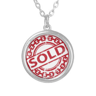 Weathered Red Sold Chain Stamp Effect Silver Plated Necklace