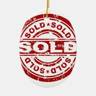 Weathered Red Sold Star Stamp Effect Ceramic Ornament