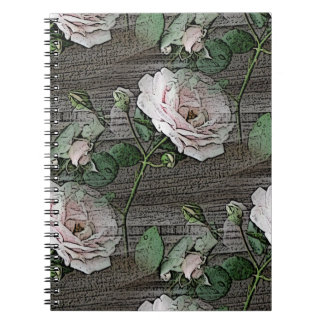 Weathered Roses on Wood Notebook