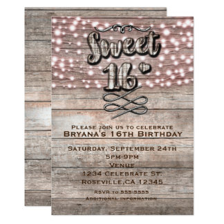 Weathered Rustic Wood & Lights SWEET 16 Invitation
