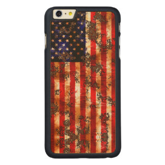 Weathered Rusty American Vertical Flag Carved Maple iPhone 6 Plus Case