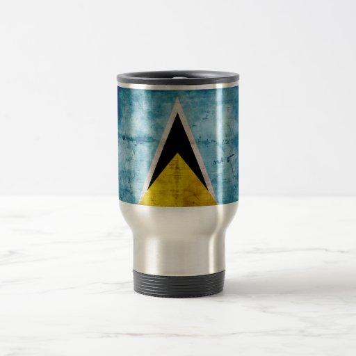 Weathered Saint Lucian Flag Coffee Mugs