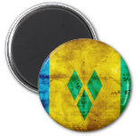 Weathered Saint Vincent Flag 2 Inch Round Magnet
