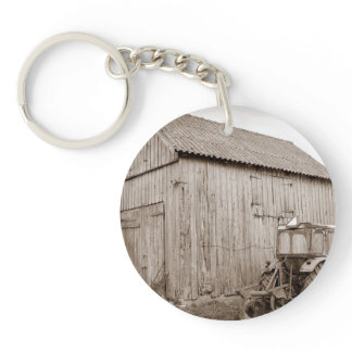 Weathered Shed and Tractor Keychain