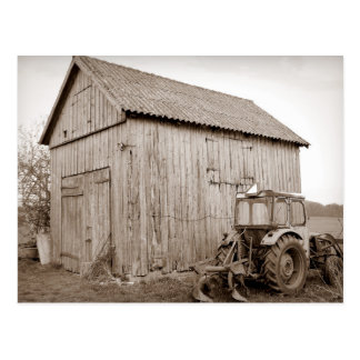 Weathered Shed and Tractor Postcard