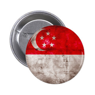 Weathered Singapore Flag Pinback Buttons