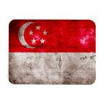 Weathered Singapore Flag Rectangle Magnets