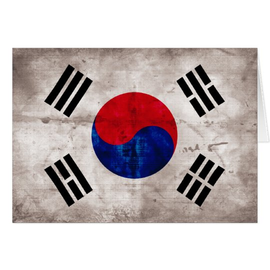 Weathered South Korean Flag Card