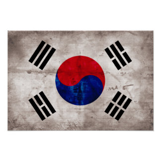 Weathered South Korean Flag Poster