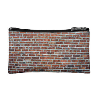 Weathered Stained Red Brick Wall Makeup Bags