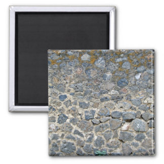 Weathered Stone Wall With Mosses 2 Inch Square Magnet