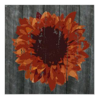 Weathered Sunflower & Barn Fall Wedding Invitation