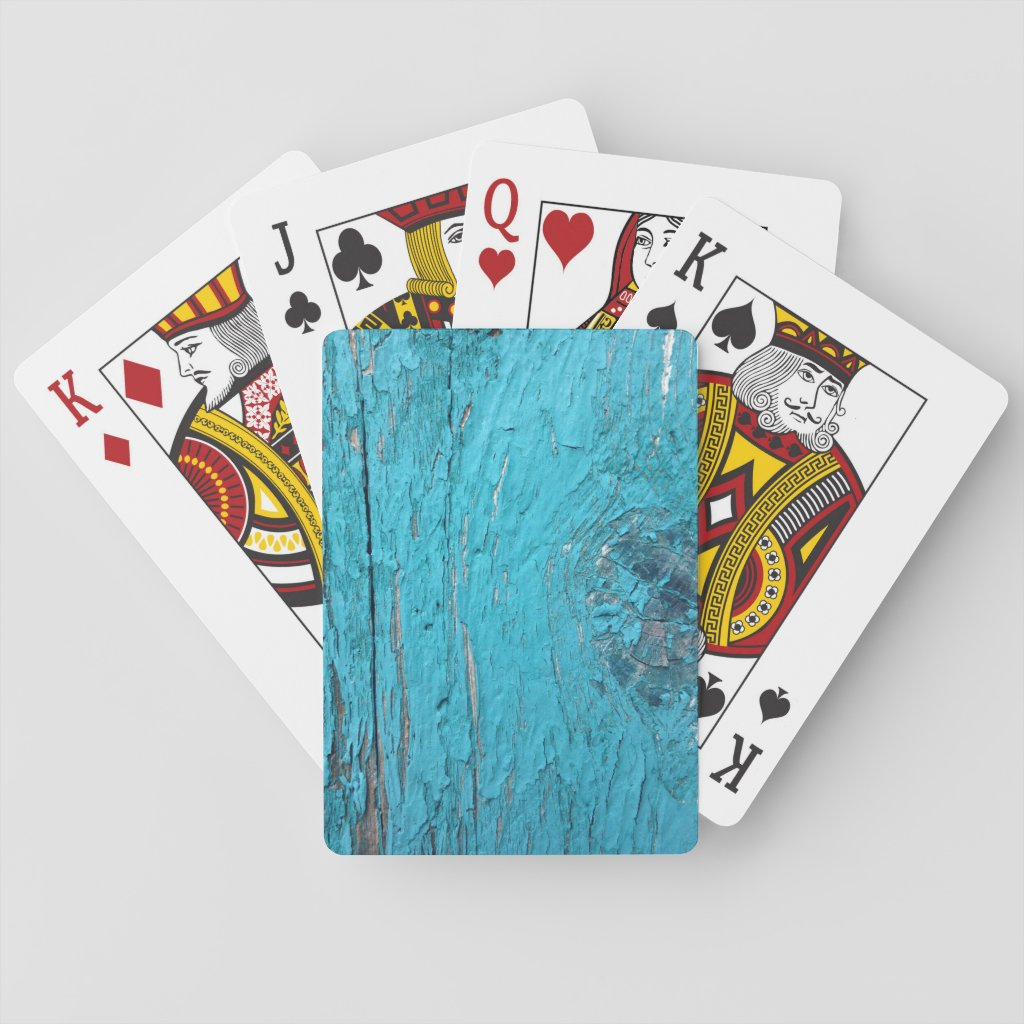 Weathered teal paint playing cards