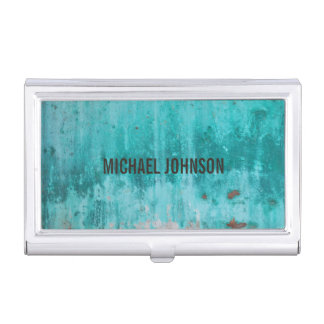 Weathered turquoise concrete wall texture business card case