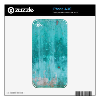 Weathered turquoise concrete wall texture skins for iPhone 4S