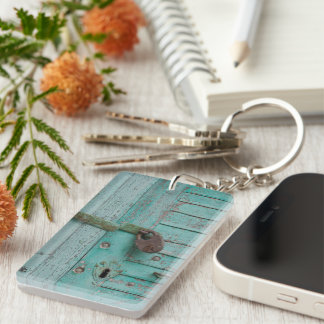 Weathered Turquoise Door Rectangle Acrylic Key Chain