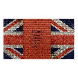Weathered Union Jack on brick wall Business Card