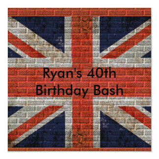 Weathered Union Jack on brick wall Card
