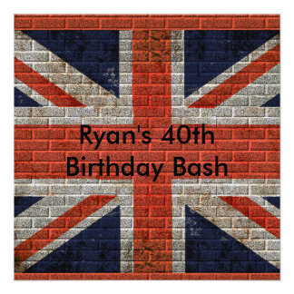 Weathered Union Jack on brick wall Personalized Announcements