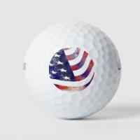 Weathered USA American Flag Patriotic Golf Balls