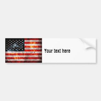 Weathered Vintage American Flag Bumper Sticker