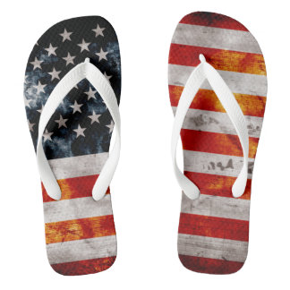 Weathered Vintage American Flag Flip Flops